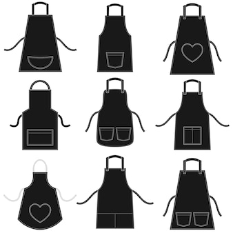 Black apron set on white background