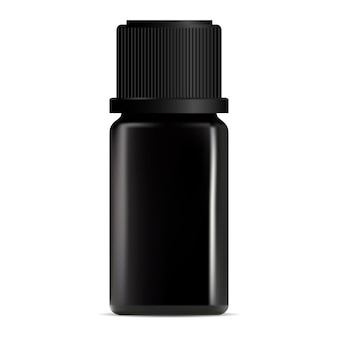 Black aroma oil dropper bottle. cosmetic serum container design. luxury collagen treatment vial . perfume pot. liquid face care product packaging