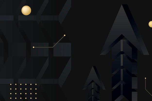 Черная стрелка фон, абстрактные границы, золотой дизайн вектор