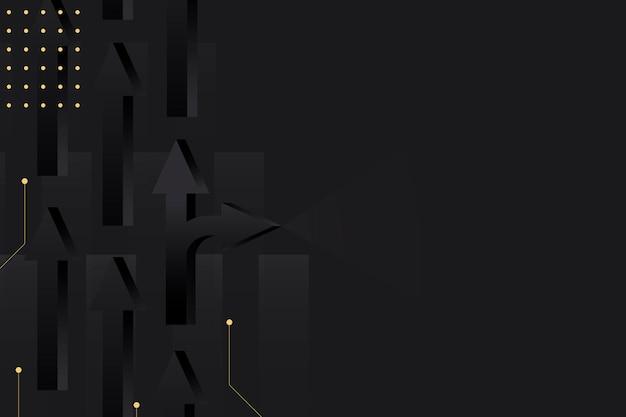 Sfondo freccia nera, bordo astratto, vettore di design oro