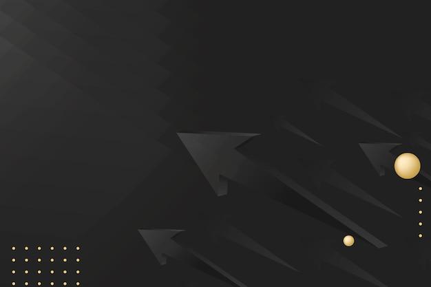 黒い矢印の背景、抽象的な金の境界線、スタートアップビジネスベクトル