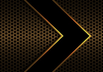 Black arrow gold line on hexagon mesh pattern.