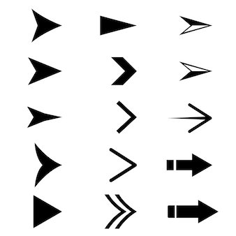 Black arrow icon set