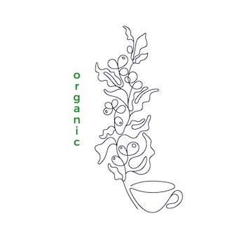 블랙 아트 단일 라인 스케치 고립 된 그림 유기농 커피 식물 콩 음료 한잔