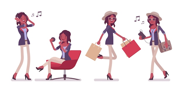 帽子、メガネ、音楽を身に着けている黒の魅力的なスマートカジュアルな女性。買い物をして音楽を聞いてメッセンジャーバッグを持つスリムでファッショナブルなエレガントな女の子。スタイル漫画イラスト