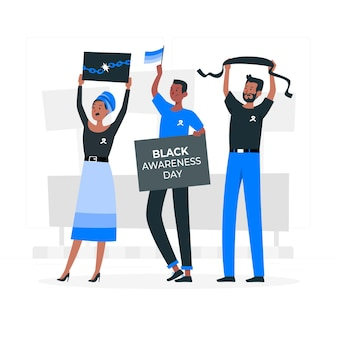 Black awareness concept illustration