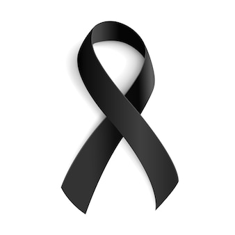 Black awareness ribbon for mourning and melanoma symbol.