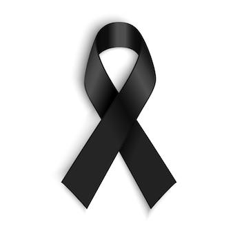 Black awareness ribbon. mourning and melanoma symbol.