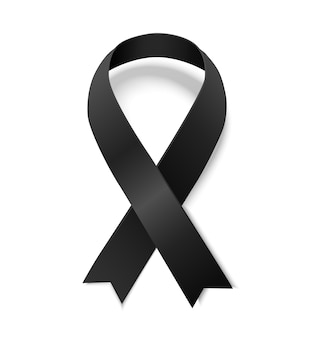 Black awareness ribbon. symbol of remembrance and mourning. illustrarion of black ribbon with shadow isolated on white background