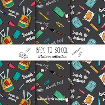 Black back to school pattern collection