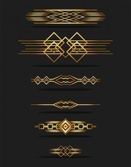 Black background art deco frames