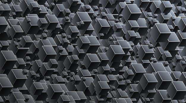 기하학적 큐브와 검은 배경 연결