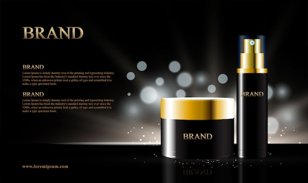 Black background for cosmetic products with bokeh