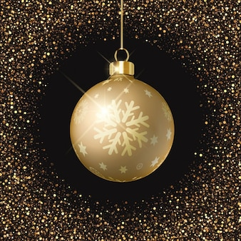 Black background, golden christmas ball