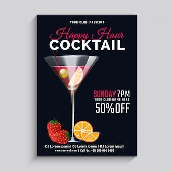 Black background on happy hour with 50% off.