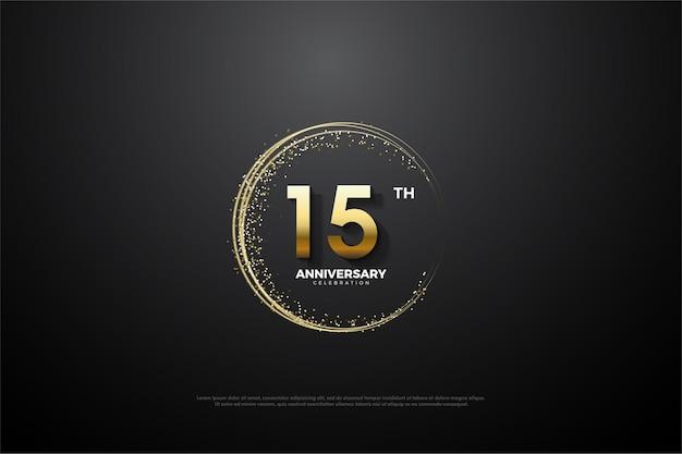 숫자를 둘러싸고있는 금빛 모래가있는 15 주년 기념 검정색 배경