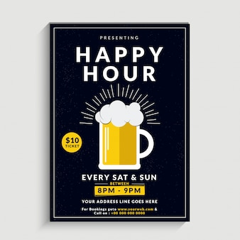 Black background on happy hour is decorate with mug insid wine.