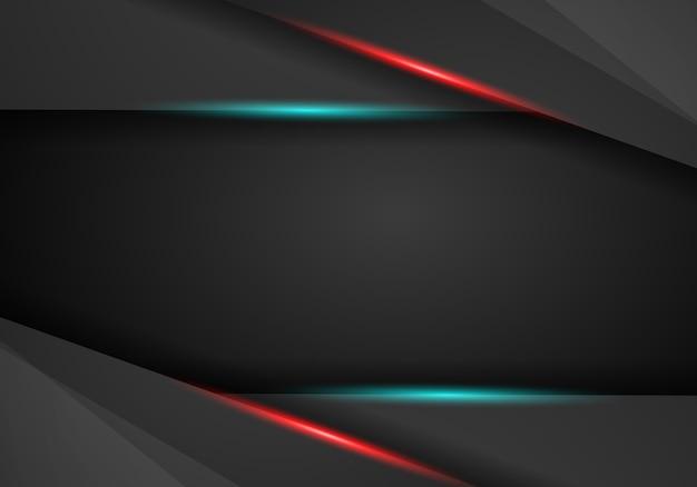 黒の背景重なり寸法赤と青のフレームレイアウトのベクトル図。
