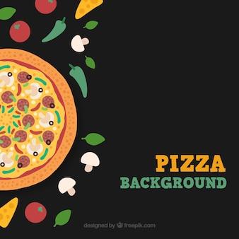 Black background pizza