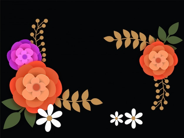 Black background in sorry card with colorful flower.
