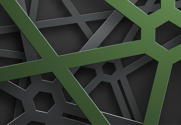 Black background of tangled lines in a web with a green hexagon on the points of intersection.