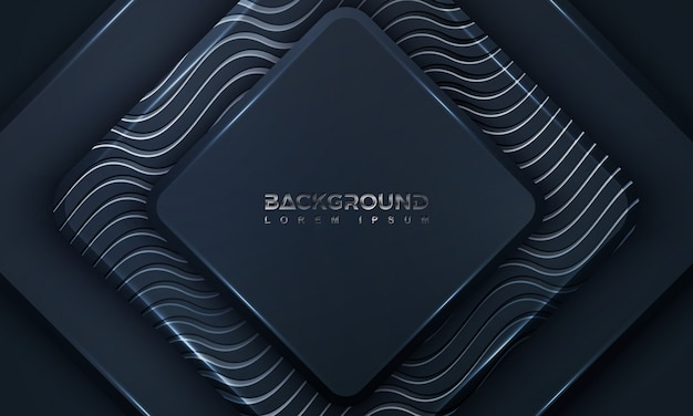 Black background textured with 3d style and wavy lines.