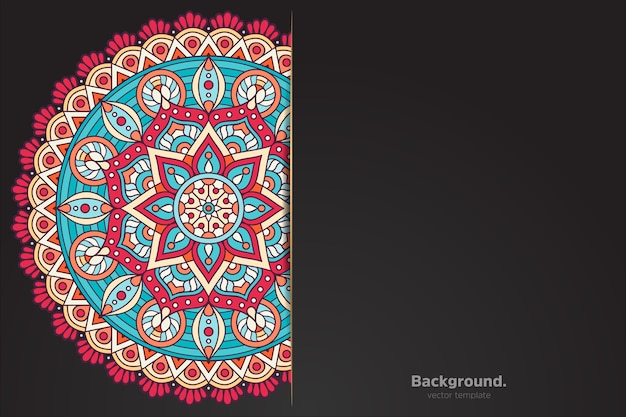 Black background with abstract oriental mandala