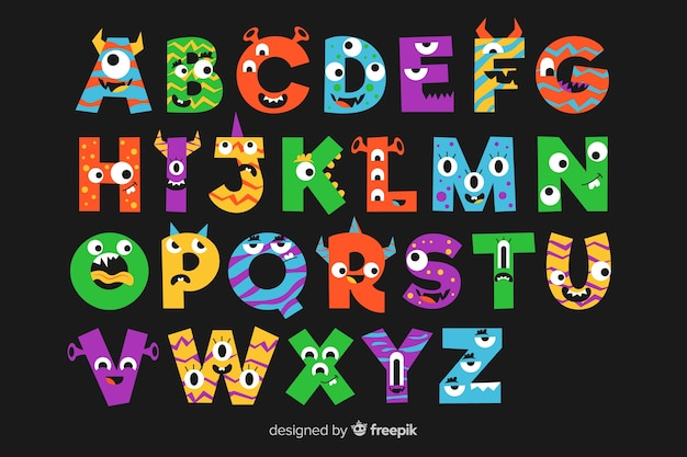 Black background with alphabet letters with halloween monsters