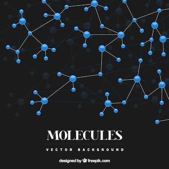 Черный фон с синими молекулами
