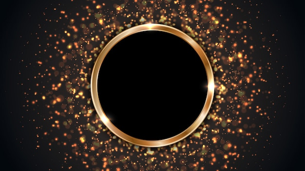 Black background with a circle frame combined with glowing dots.