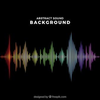 色の付いた音波を伴う黒い背景