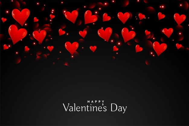 Black background with floating red hearts