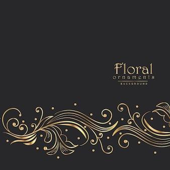 驚くべき黄金の花の背景のボーダーデザイン