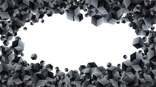 Черный фон с геометрическими кубиками