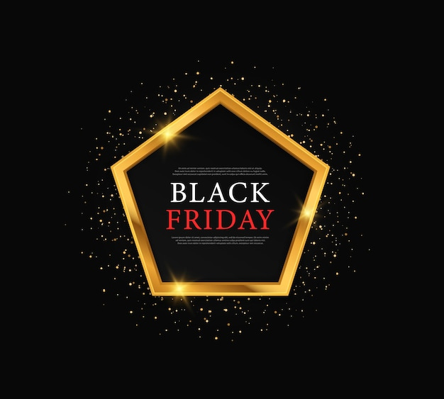 Black background with gold confetti for black friday and big sales
