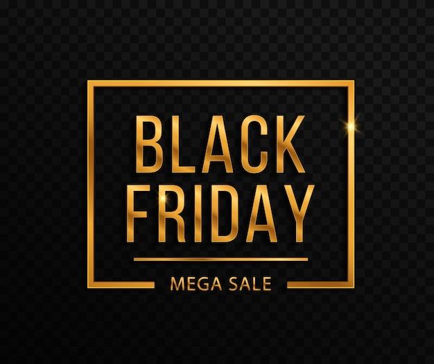검은 금요일과 큰 판매를 위한 금색 색종이가 있는 검은 배경