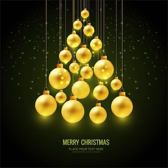 Black background with golden christmas balls