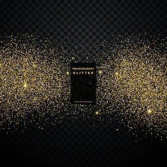 黄金の光沢のある粒子の祝賀の背景と黒の背景