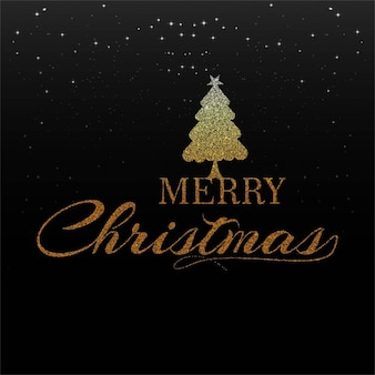 Black background with golden letters for christmas