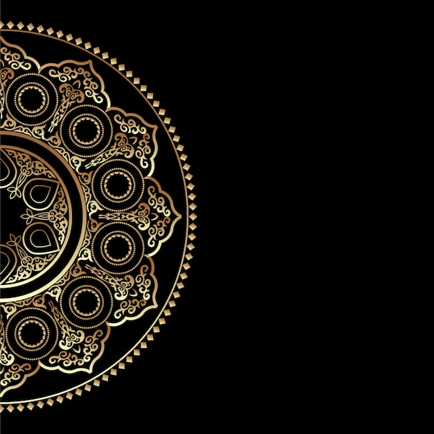 Black background with golden round ornament - arabic, islamic, east style