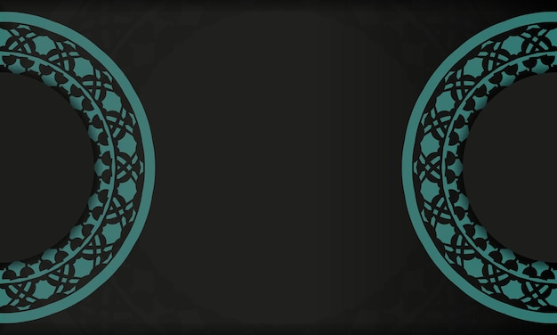 Black background with greek blue vintage ornaments and place for your logo. template for postcard print design with abstract ornament.