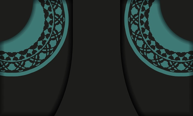 Black background with greek blue vintage ornaments and place for your logo and text. postcard design with abstract ornament.