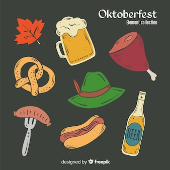 Black background with hand drawn oktoberfest elements