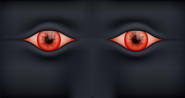 Black background with human red eyes.