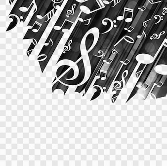 Black background with musical notes