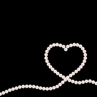 Black background with natural pearl garlands of beads in heart shape. vector illustration