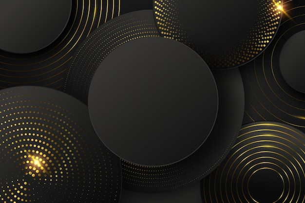 Black background with shapes and golden elements