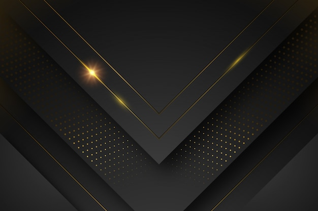Black background with shapes and golden lines
