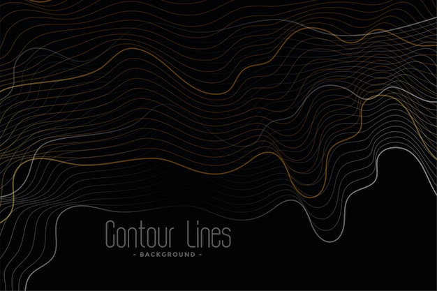 Black background with shiny contour lines