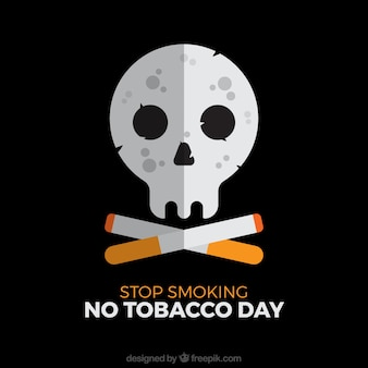Black background with skull and cigar